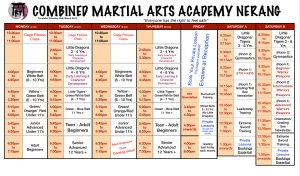 New Combined Martial Arts Academy Timetable Effective March 20th 2015